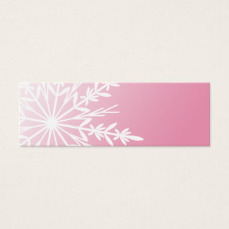 White Winter Snowflake on Pink Gift Tags Mini Business Card