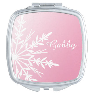 White Winter Snowflake on Pink Vanity Mirror