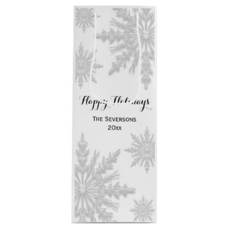 White Winter Snowflakes Happy Holidays Wine Gift Bag