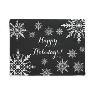 White Winter Snowflakes on Black Happy Holidays Doormat