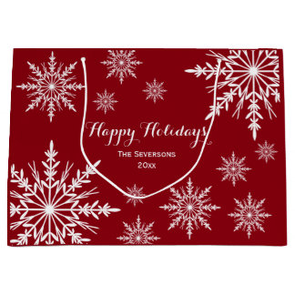 White Winter Snowflakes on Red Happy Holidays Large Gift Bag