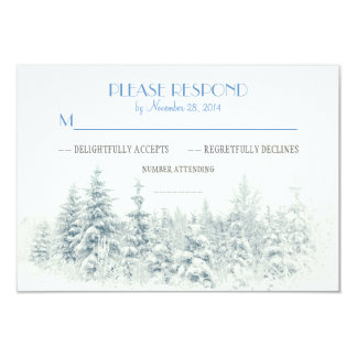 "White winter wedding RSVP cards 3.5"" X 5"" Invitation Card"
