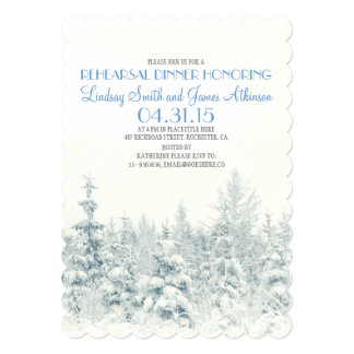White winter woodland rehearsal dinner invitation