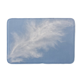 White Wispy, Feathery Clouds in a Blue Sky Bath Mat