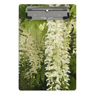 White Wisteria Floral Mini Clipboard