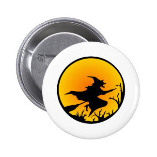White Witch Broom Circle Moon 2 Inch Round Button