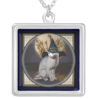 White Witches Cat Square Pendant