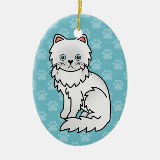 White With Blue Eyes Persian Cat Cartoon Drawing Ceramic Ornament