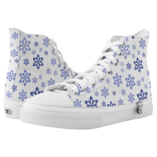 White With Blue Snowflake Pattern