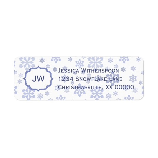 White with Blue Snowflakes Christmas Return Address Label