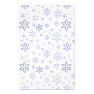 White with Blue Snowflakes Stationery Design