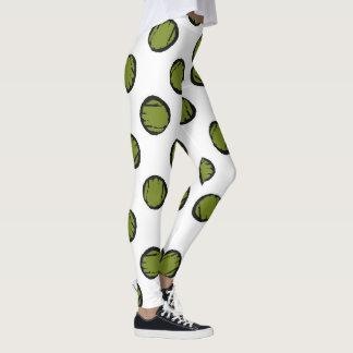 White with Dark Green Dots Leggings