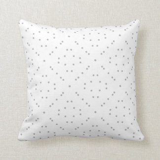 White with Faux Silver Dots Throw Pillow