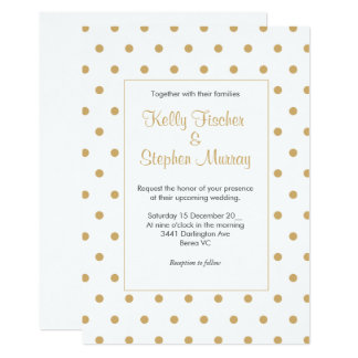 White with gold polka dots card