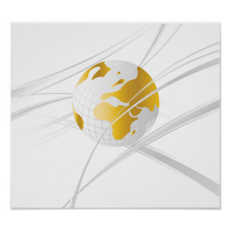 White With Grey Globe Poster