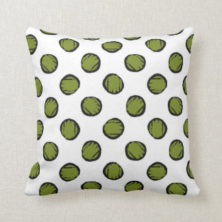 White with Moss Green Circles / Dots Throw Pillow