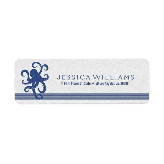 White With Navy Blue Cute Octopus