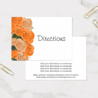White with Orange Roses - Directions Business Card