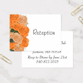 White with Orange Roses - Reception Business Card