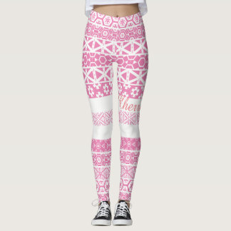 White with pink print tight leggings