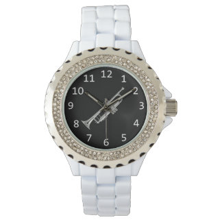 White with silver Trumpet Wrist Watches