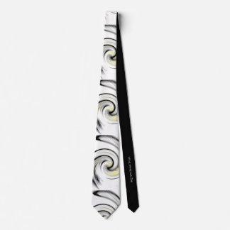 White with Yellow, Black and Gray Smokey Swirls Tie