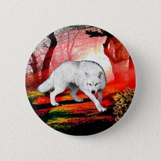 White wolf - arctic wolf - american wolf 2 inch round button