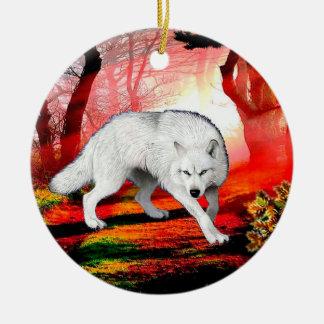 White wolf - arctic wolf - american wolf ceramic ornament