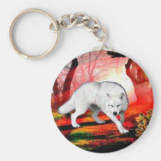 White wolf - arctic wolf - american wolf keychain