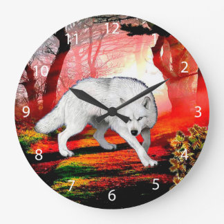 White wolf - arctic wolf - american wolf large clock