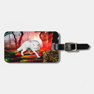 White wolf - arctic wolf - american wolf luggage tag