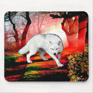 White wolf - arctic wolf - american wolf mouse pad