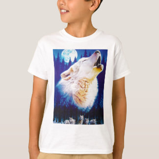 White Wolf Howling at the Full Blue Moon T-Shirt