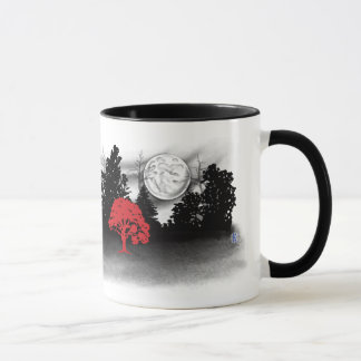 White wolf in silhouette forest with red tree mug