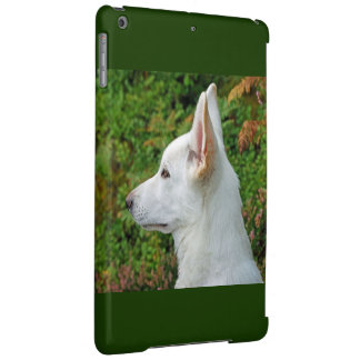 White wolf in the green iPad air case
