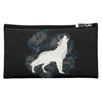 White Wolf on Circle of Black Roses Bag