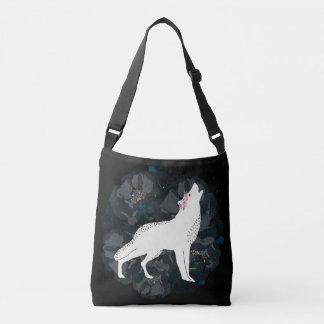 White Wolf on Circle of Black Roses Crossbody Crossbody Bag