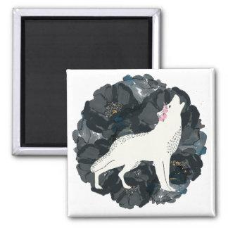 White Wolf on Circle of Black Roses Magnet