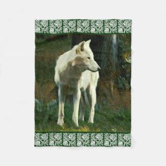 White Wolf Painting Fleece Blanket