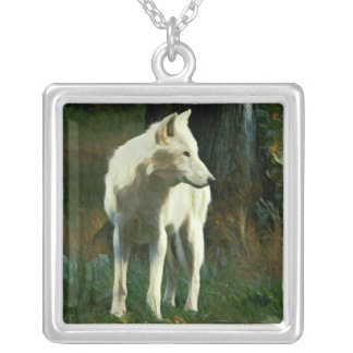 White Wolf Painting Silver Plated Necklace