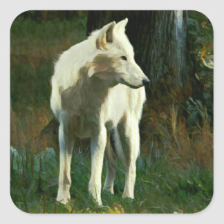 White Wolf Painting Square Sticker