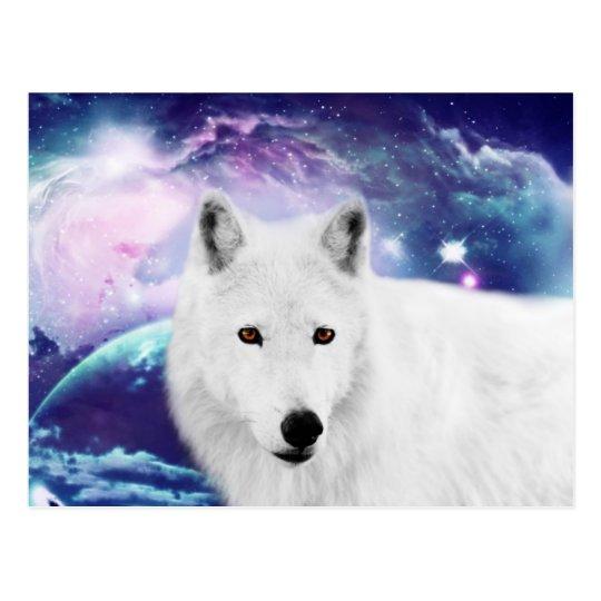White wolf postcard
