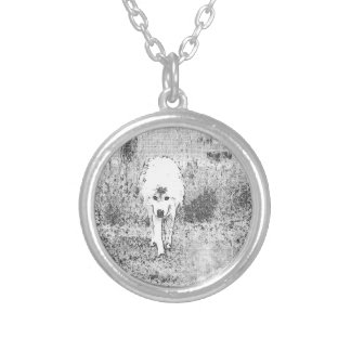 White Wolf Sketch in Pen and Ink Silver Plated Necklace