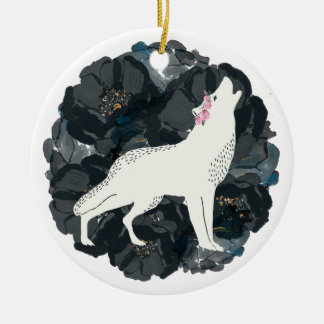 White Wolf with Black Roses Ornament