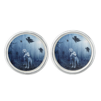 White Wolves in a Dark Forest Cufflinks