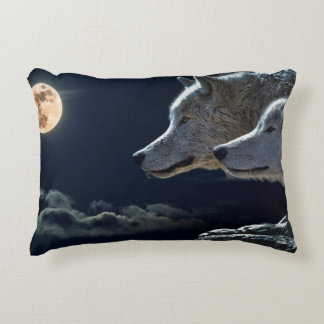 White Wolves in the Full Moon Accent Pillow