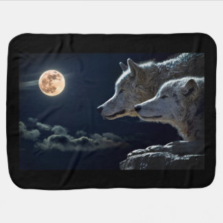 White Wolves in the Full Moon Baby Blanket