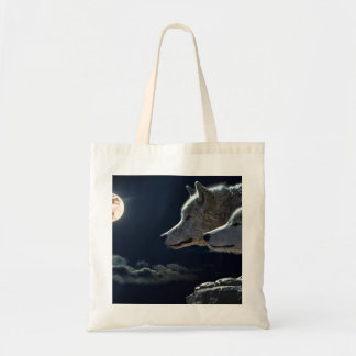 White Wolves in the Full Moon Tote Bag