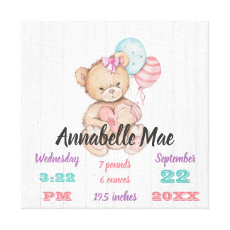 White Wood Balloons & Teddy Baby Girl Birth Stats Canvas Print
