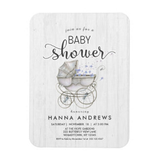 White Wood & Carriage Boy Baby Shower Invitation Magnet
